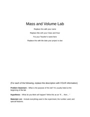Mass and Volume Report