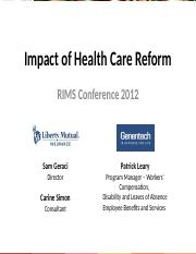 RMG212 -- The Impact of Health Care Reform on Employers.ppt