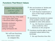 Lecture102 Functions that retrun values