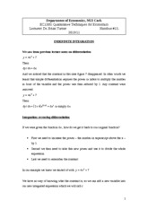 Handout 13 - Indefinite Integration
