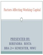 factor affecting working capital