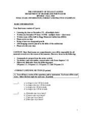 FINAL EXAM (Information, Format and Practice  Examples) 601D FALL-2010