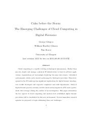 The Emerging Challenges of Cloud Computing in