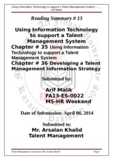 13 Reading Summary using IT to support Talent Mngm System