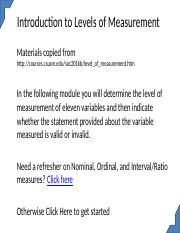 Introduction to Levels of Measurement