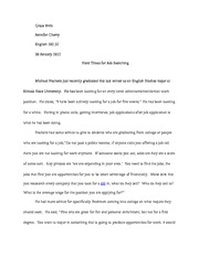 reflective essay reflective essay english professor jennifer  10 pages paper 1 hard times for job searching