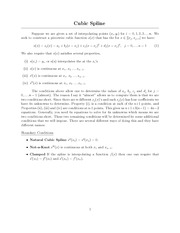 Lecture Notes on Cubic Spline