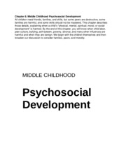 Chapter 8 Middle Childhood Psychosocial Development