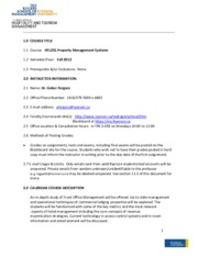 Syllabus for Property Management Systems