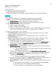Lecture 9- Marketing Mix  notes detailed