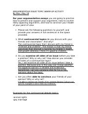Argumentative Essay Topic warm- up activitity