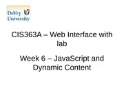 CIS363A - Web Interface with lab Week 6