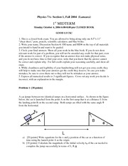 Physics 7A - Fall 2004 - Lanzara - Midterm 1 - Exam