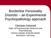 Borderline Personality Disorder – an Experimental Psychopathology approach