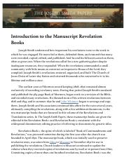 8.1 Introduction to the Manuscript Revelation Books