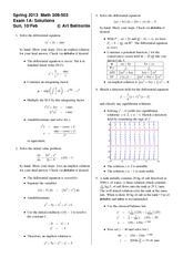 Exam 1 Version A Spring 2013 on Differential Equations