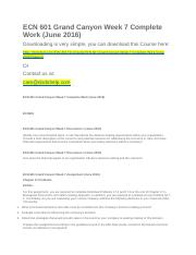 ECN 601 Grand Canyon Week 7 Complete Work (June 2016).docx