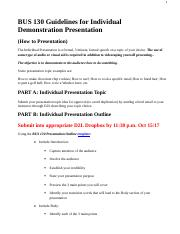 BUS 130 Guidelines for Individual Demonstration Presentation1.docx