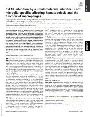 CSF1R inhibition by a small-molecule inhibitor is not microglia specific, affecting hematopoises and