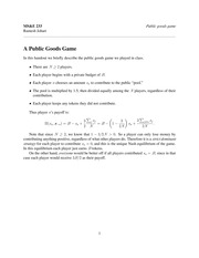 Supplementary Notes - Public Goods Game