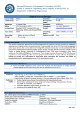 Ee 421 Dsd Course Outline Rehan Hafiz 06feb14 National University Of Sciences Technology Nust School Of Electrical Engineering And Computer Course Hero