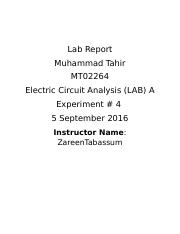 Experiment 4 - Lab Report