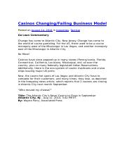 Casinos Changing - Failing Business Model