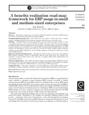 A benefits realisation road-map framework for ERP usage in small and medium-sized enterprises