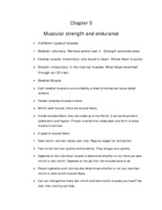 Chapter 5- Muscle Strength and Endurance