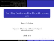 Psychology 319 (GCM)_Steiger_Lecture Notes on Continuous-Time Event Occurrence Data