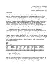 Newtons Second Law Lab report