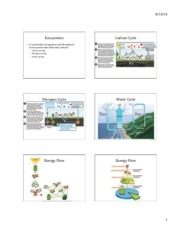 Lecture 19 Ecosystems and Biomes