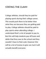 COLLEGE ATHLETES revise