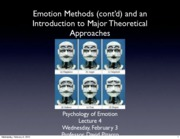 Emotion Lecture 4 2010 Manipulation and Basic Theories
