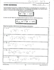 Worksheet on Covalent Bonds