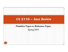 cs2110 2 Review 3 Primitive vs Reference Types