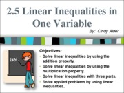 2.5 Linear Inequalities in One Variable