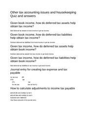 Other tax accounting issues and housekeeping Quiz and answers