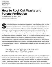 (Harvard Business Review) How to Root Out Waste and Pursue Perfection.pdf