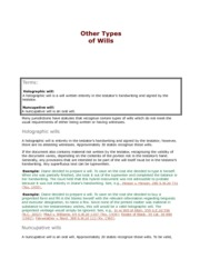Other Types of Wills