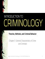 Chapter 3_General Characteristics of Crime and Criminals