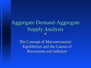Lecture no. 18--AGGREGATE DEMAND-AGGREGATE SUPPLY ANALYSIS