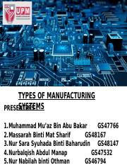 G1 - TYPES OF MANUFACTURING SYSTEMS