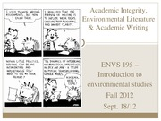 Academic Integrity, Environmental Literature & Academic Writing - for posting