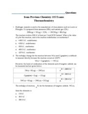 Questions from Previous Chemistry 115 Exams Thermochemistry