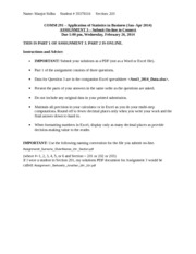 Business Stats ( Comm 291) Assignment 3