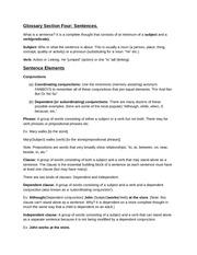 Glossary Section FourSentences
