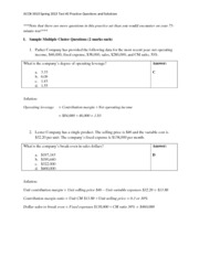 Test 2 Practice Questions and Solutions