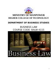 Updated Business Law Material - 2016 - HCT (1).doc