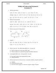 Polynomials Worksheet #3 Adding and Subtracting Polynomials